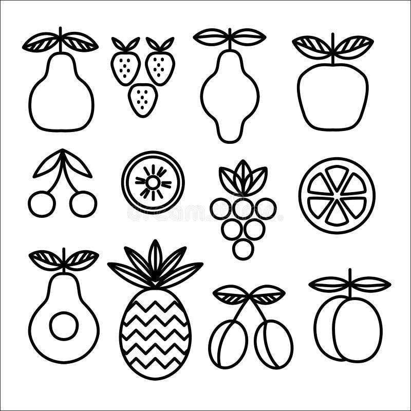 Samling av linjära symboler av frukter och bär Mall för organisk mat stock illustrationer