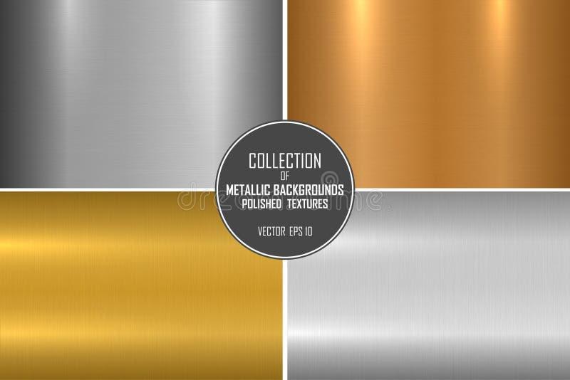 Samling av ljusa borstade metalliska texturer Skinande polerade metallbakgrunder royaltyfri illustrationer