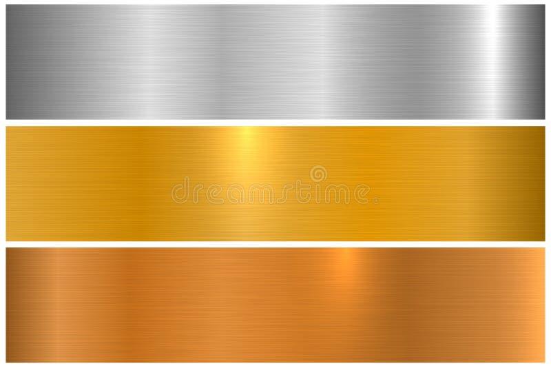 Samling av ljusa färgrika metalliska texturer Skinande polerade metallbaner royaltyfri illustrationer