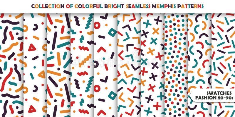 Samling av ljusa färgrika sömlösa modeller Memphis mosaikdesign - retro modestil 80-90s stock illustrationer