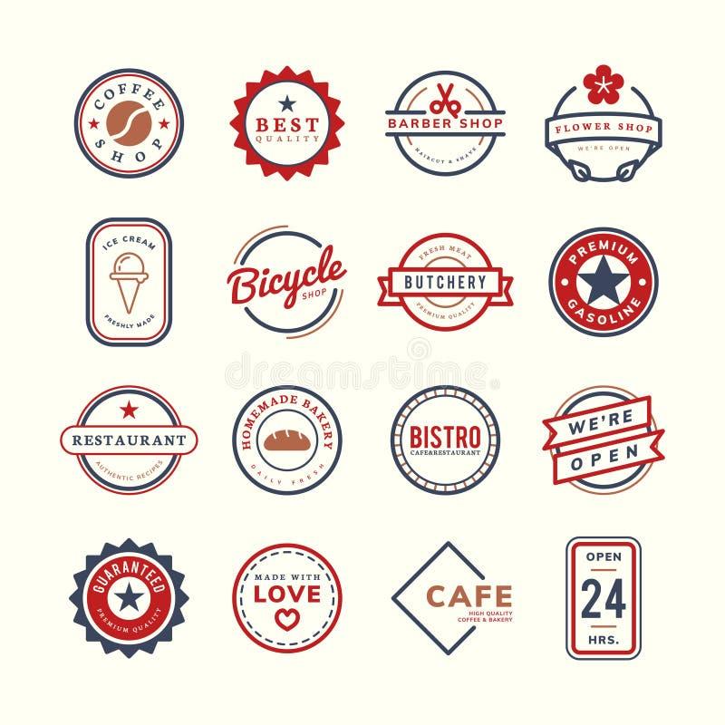 Samling av logo- och emblemvektorer vektor illustrationer
