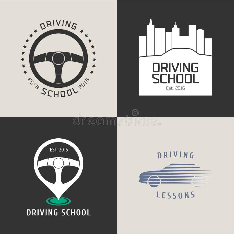 Samling av logoen för vektor för skola för körningslicens vektor illustrationer