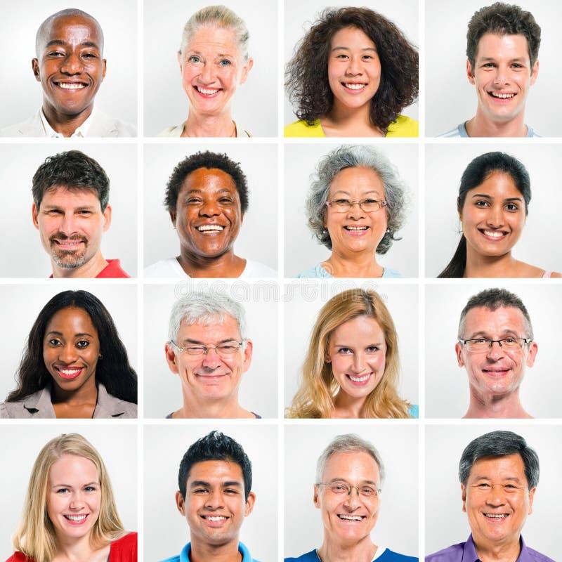 Samling av lyckligt Mång--person som tillhör en etnisk minoritet folk royaltyfri foto