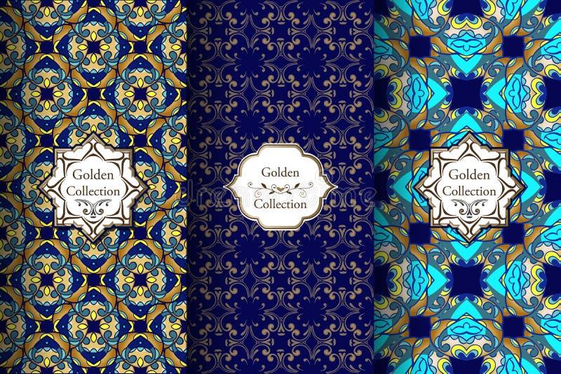Samling av lyxiga orientaliska modeller av blått och guld Viktoriansk damast sömlös modell Guld- tappningdesignbeståndsdelar Eleg royaltyfri illustrationer