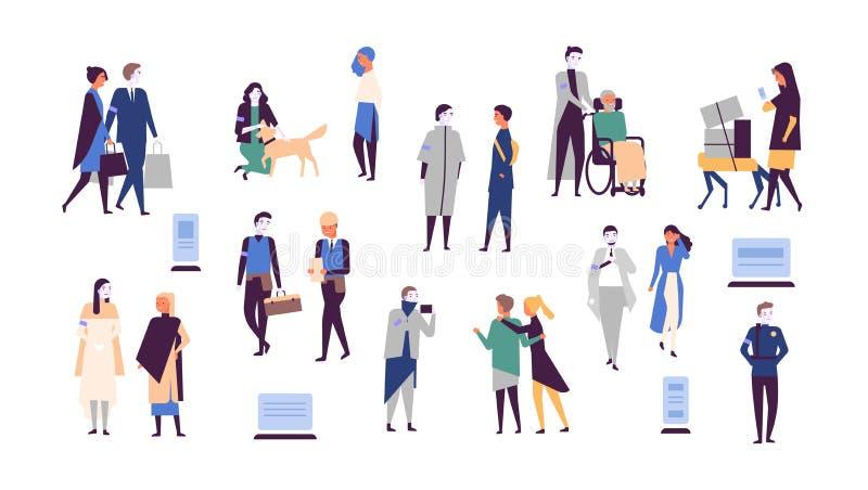 Samling av människor och robotar som isoleras på vit bakgrund Androidhjälpfolket bär objekt, omsorg om älsklings- djur royaltyfri illustrationer
