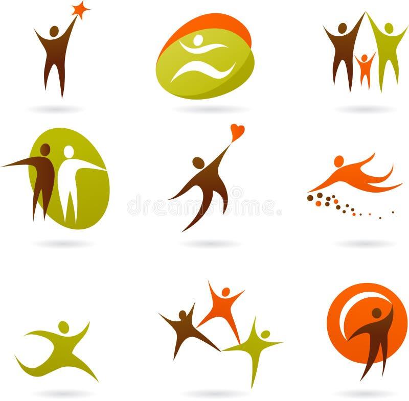 Samling av mänskliga symboler och logoer - 3 stock illustrationer