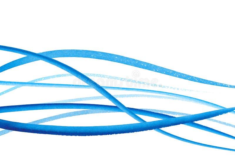 Samling av målade borsteslaglängder för vattenfärg hand abstrakt bakgrundsblålinjen Livliga aquarellevågor Havsmodell vektor illustrationer