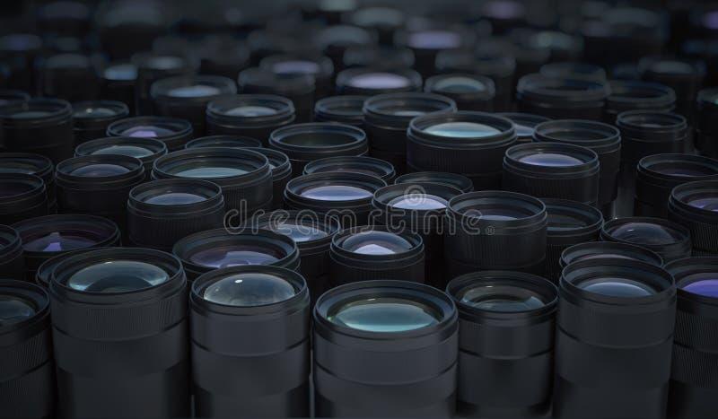 Samling av många DSLR-kameralinser Begrepp för fotografisk utrustning framförd illustration 3d stock illustrationer