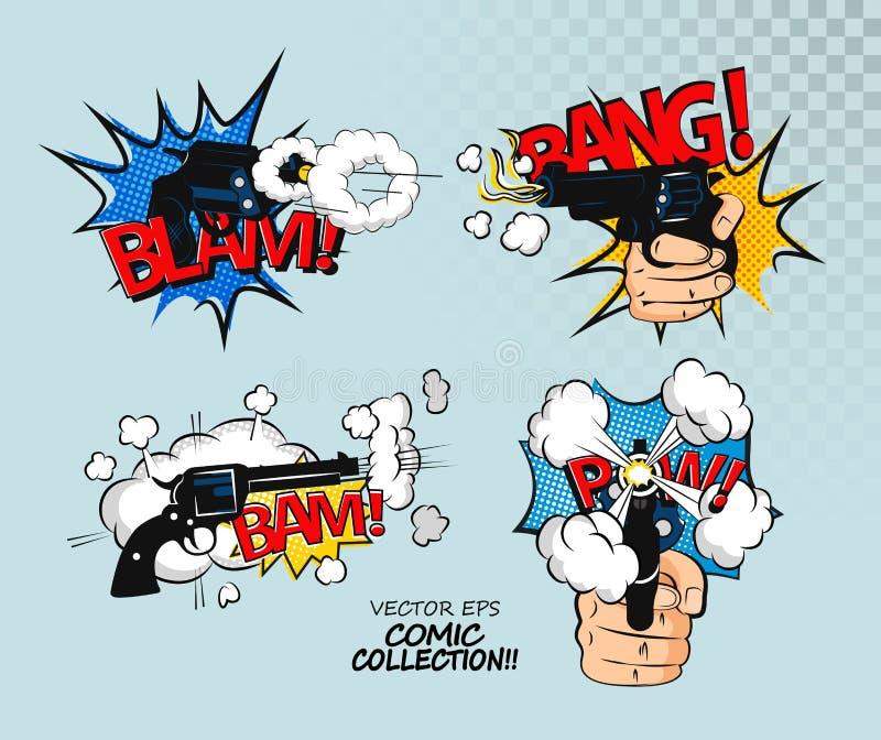 Samling av mångfärgade komiska solida effekter Komisk bubbladesign i stil för popkonst skjorta t royaltyfri illustrationer