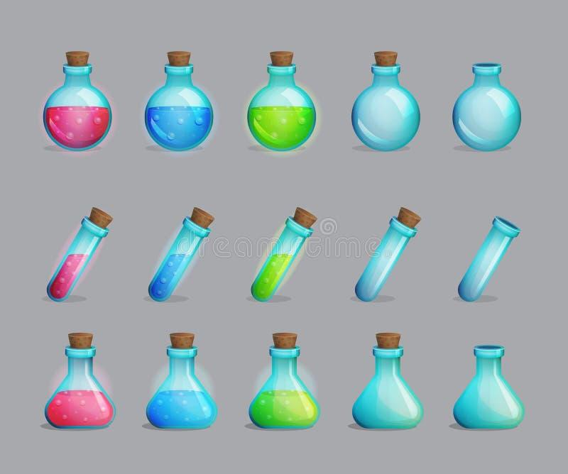 Samling av magiska drycker och flaskor för dem stock illustrationer