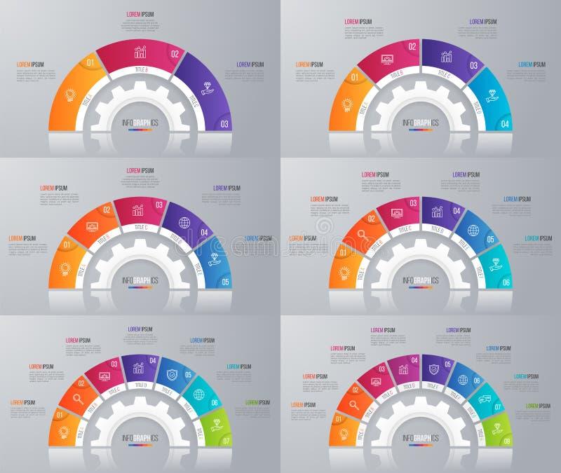 Samling av mallar för vektorcirkeldiagram för infographics stock illustrationer