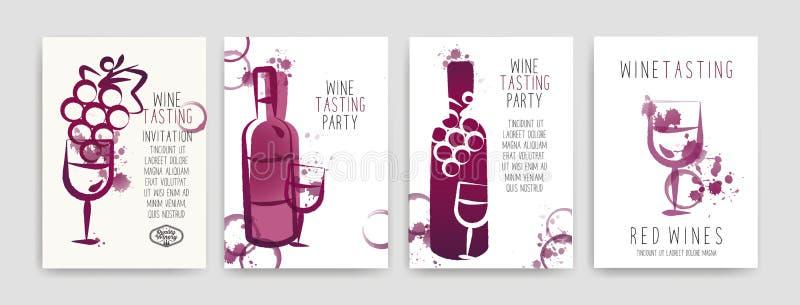 Samling av mallar med vindesigner Broschyrer affischer, inbjudankort, befordranbaner, menyer Vinfläckar CMYK royaltyfri illustrationer