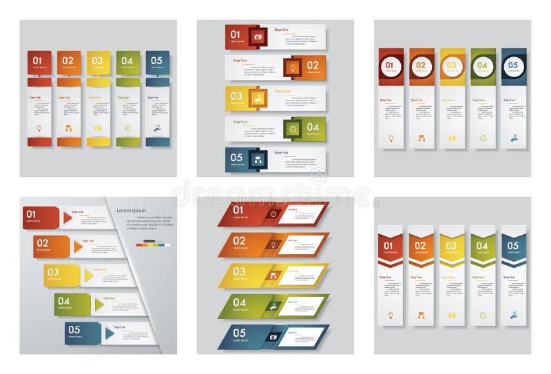 Samling av mallen för 6 design/diagram- eller websiteorienteringen Det kan vara nödvändigt för kapacitet av designarbete vektor illustrationer
