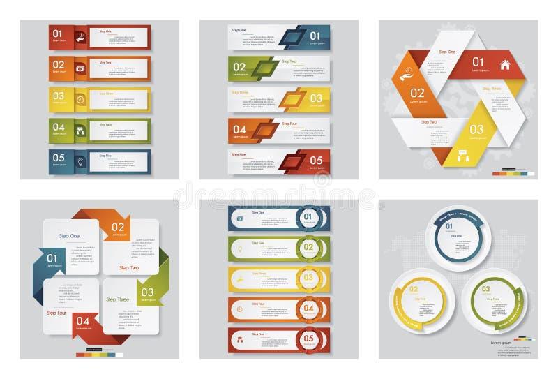 Samling av mallen för 6 design/diagram- eller websiteorienteringen Det kan vara nödvändigt för kapacitet av designarbete stock illustrationer