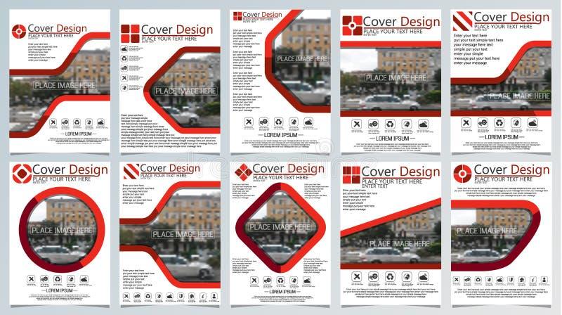 Samling av mallen för tio broschyr för årlig teknologi släkta reposts, orientering för vektordesign a4 med utrymme för text och f vektor illustrationer