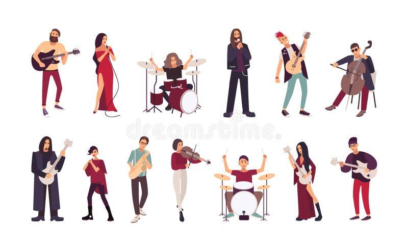 Samling av manliga och kvinnliga sångare och musiker som isoleras på vit bakgrund Män och kvinnor som sjunger och spelar stock illustrationer