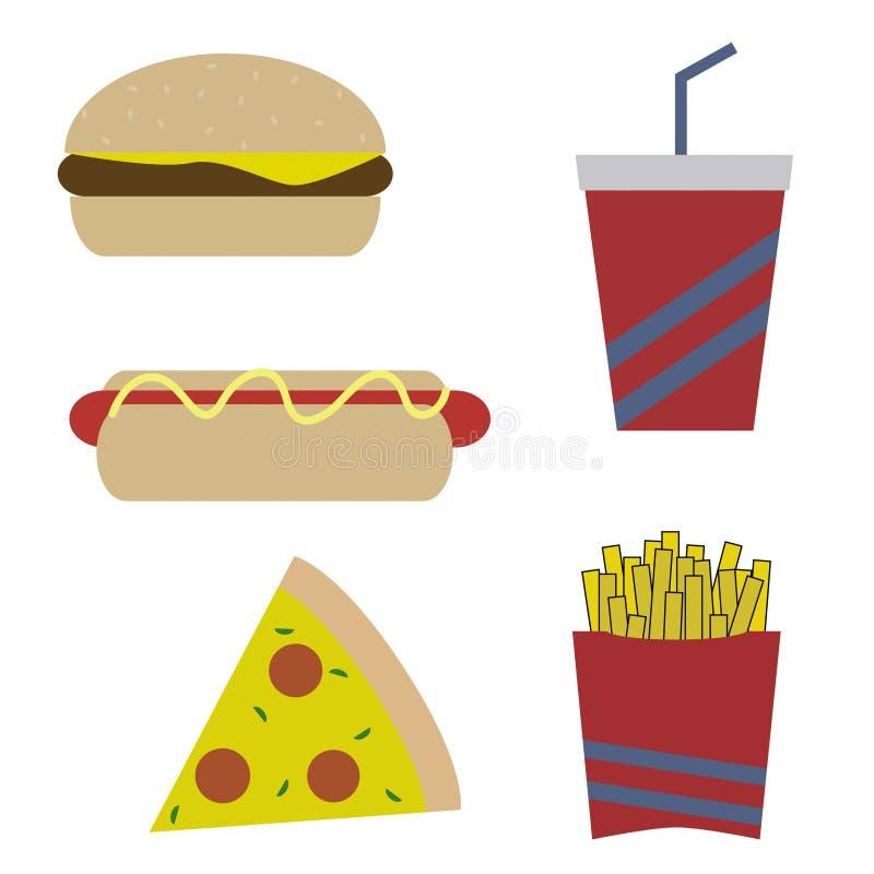 Samling av matsnabbmat som innehåller 5 vektorer vektor illustrationer
