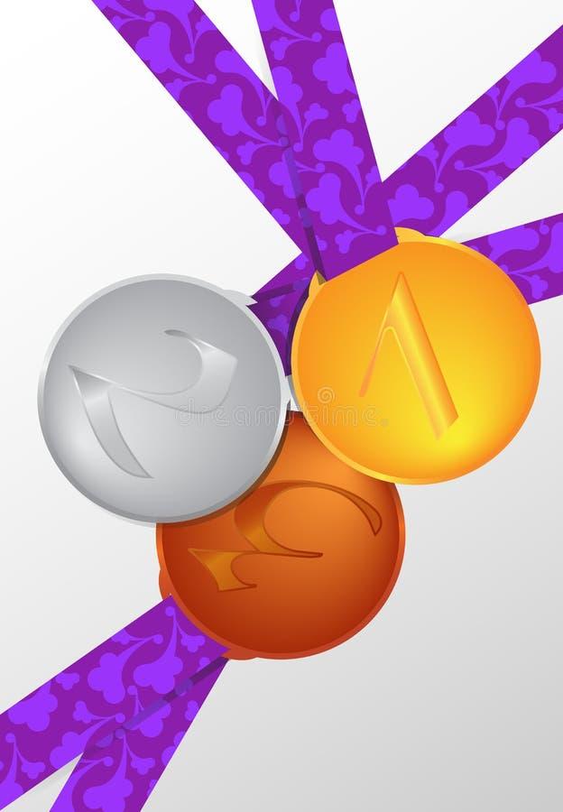 Samling av medaljer vektor illustrationer