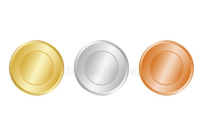 Samling av medaljer för mästarna vektor illustrationer