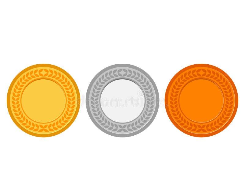 Samling av medaljer för mästarna stock illustrationer