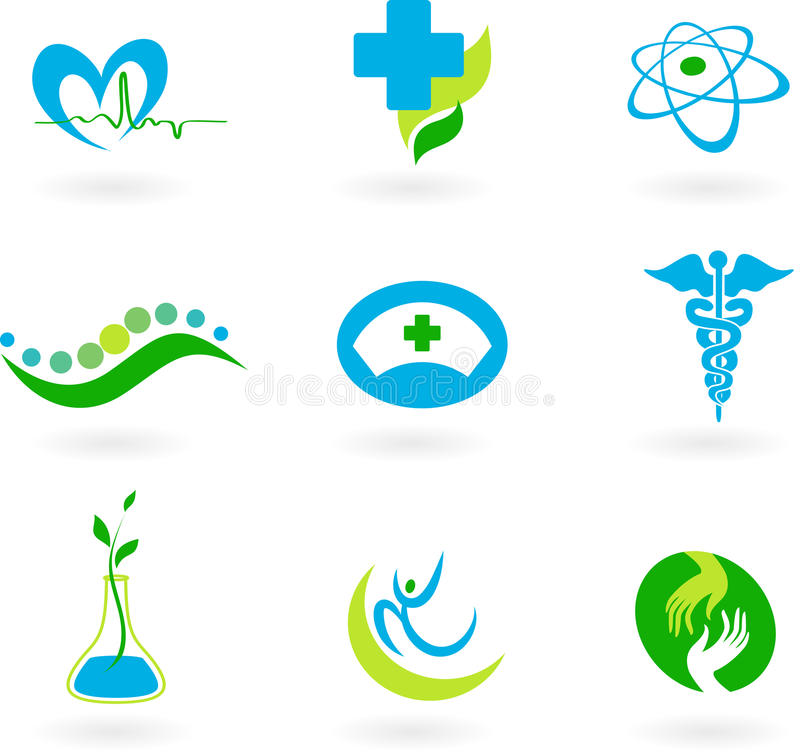 Samling av medicinska symboler stock illustrationer