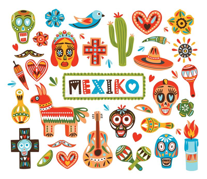 Samling av mexicanska medborgareattribut som isoleras på vit bakgrund - pinata, sockerskallar, chilipeppar, maracas royaltyfri illustrationer