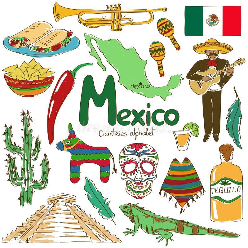 Samling av Mexico symboler stock illustrationer