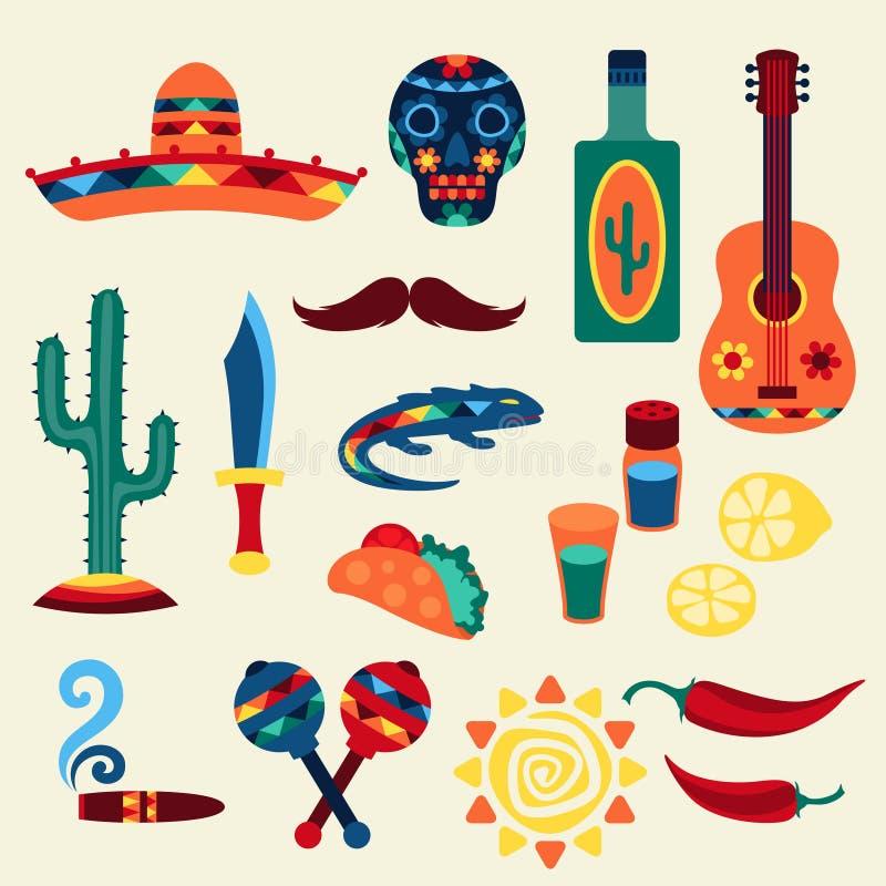 Samling av mexikanska symboler i infödd stil royaltyfri illustrationer