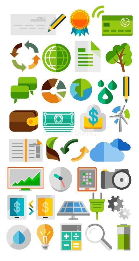 Samling av moderiktiga plana färgsymboler stock illustrationer