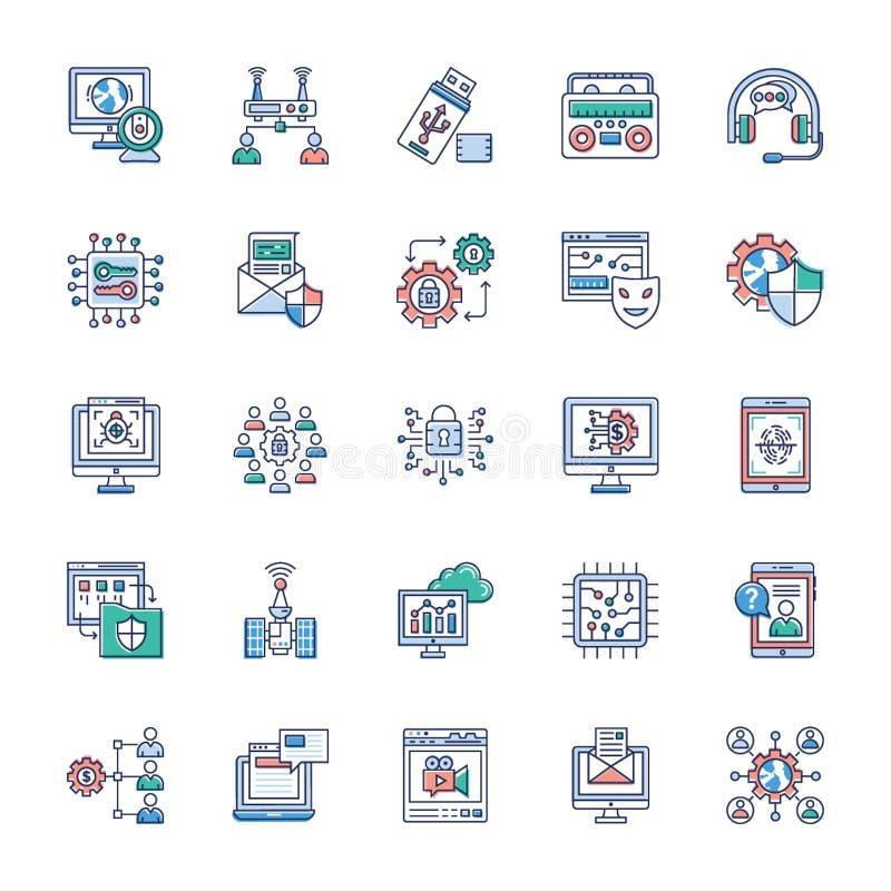 Samling av moderna teknologisymboler stock illustrationer