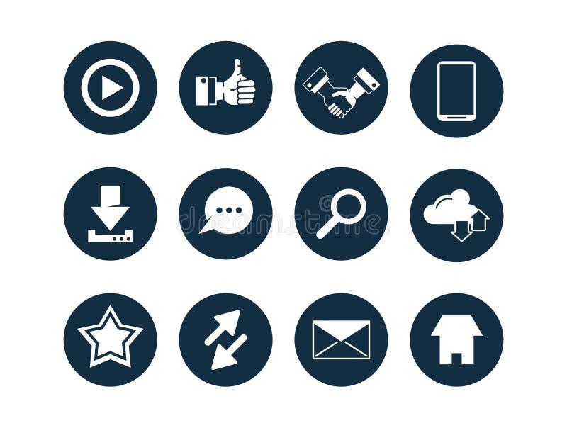 Samling av multimediasymboler vektor illustrationer