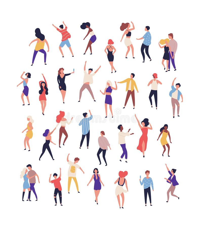 Samling av mycket litet folk som dansar p? dansgolv p? nattklubben som isoleras p? vit bakgrund Glade m?n och kvinnor som har vektor illustrationer
