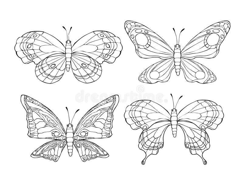 Samling av nätta tecknad filmfjärilar på vit bakgrund stock illustrationer