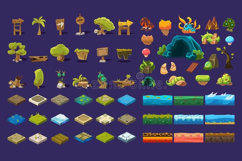 Samling av naturliga landskapbeståndsdelar, träd, trätecken, stenar, jordningsplattformar, användargränssnitttillgångar för royaltyfri illustrationer