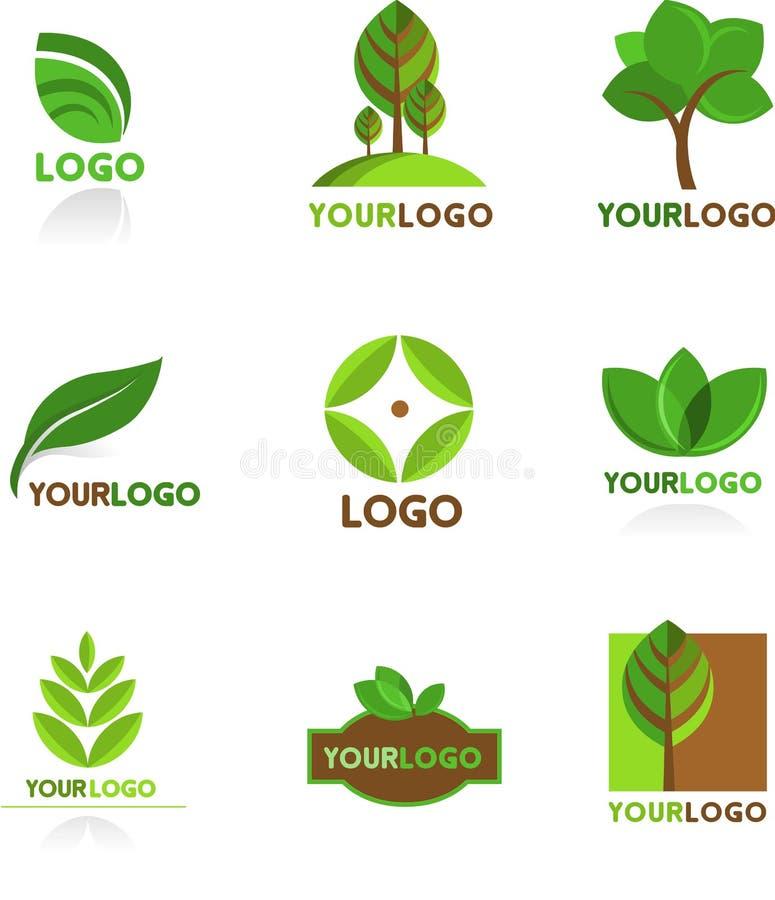 Samling av naturlogoer och stock illustrationer