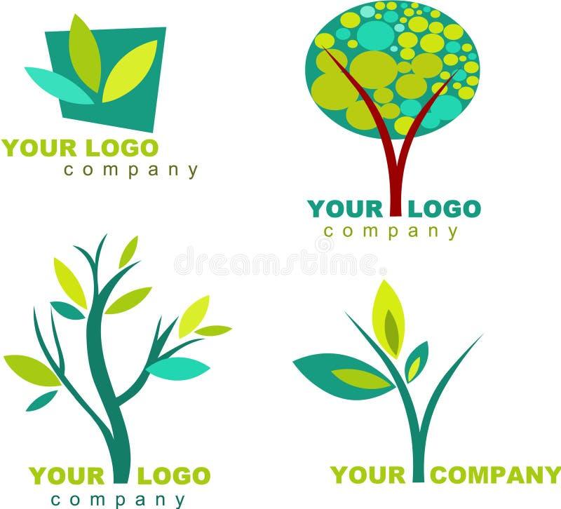 Samling av naturlogoer och symboler - 3 vektor illustrationer