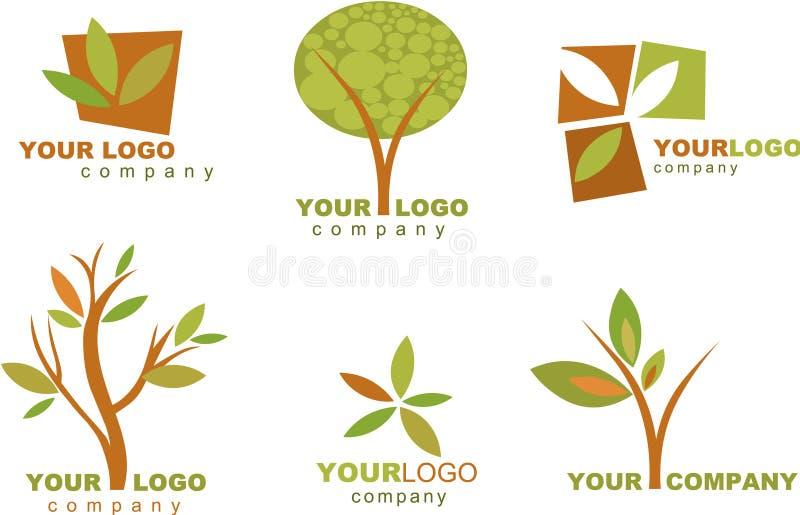 Samling av naturlogoer och symboler vektor illustrationer