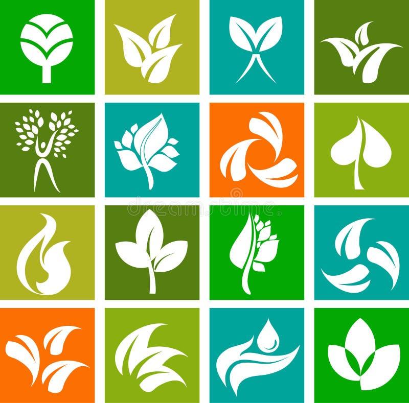 Samling av natursymboler och logoer - 6 royaltyfri illustrationer