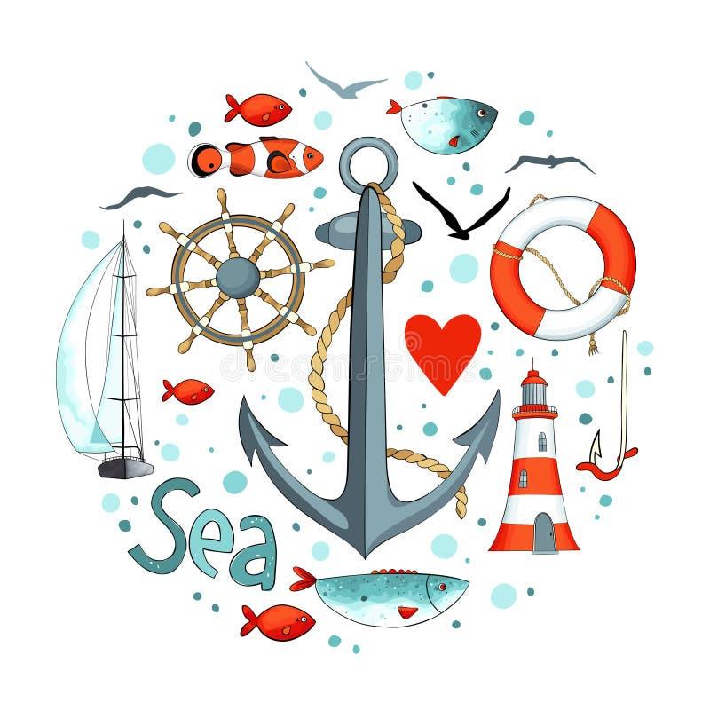 Samling av nautiska beståndsdelar i en cirkelform stock illustrationer
