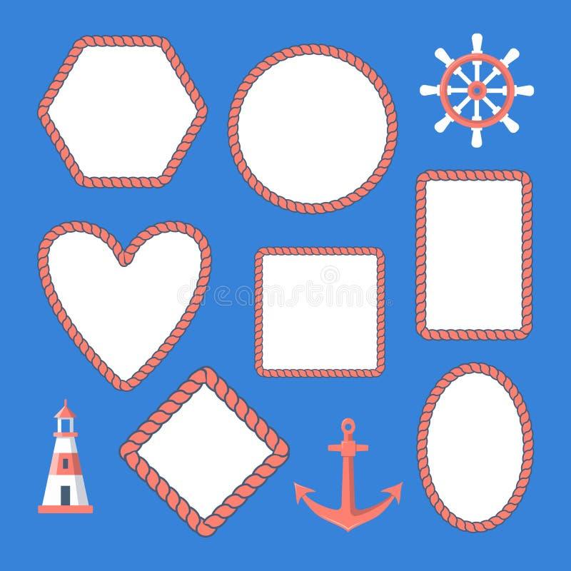 Samling av nautiska repramar och marin- symboler royaltyfri illustrationer