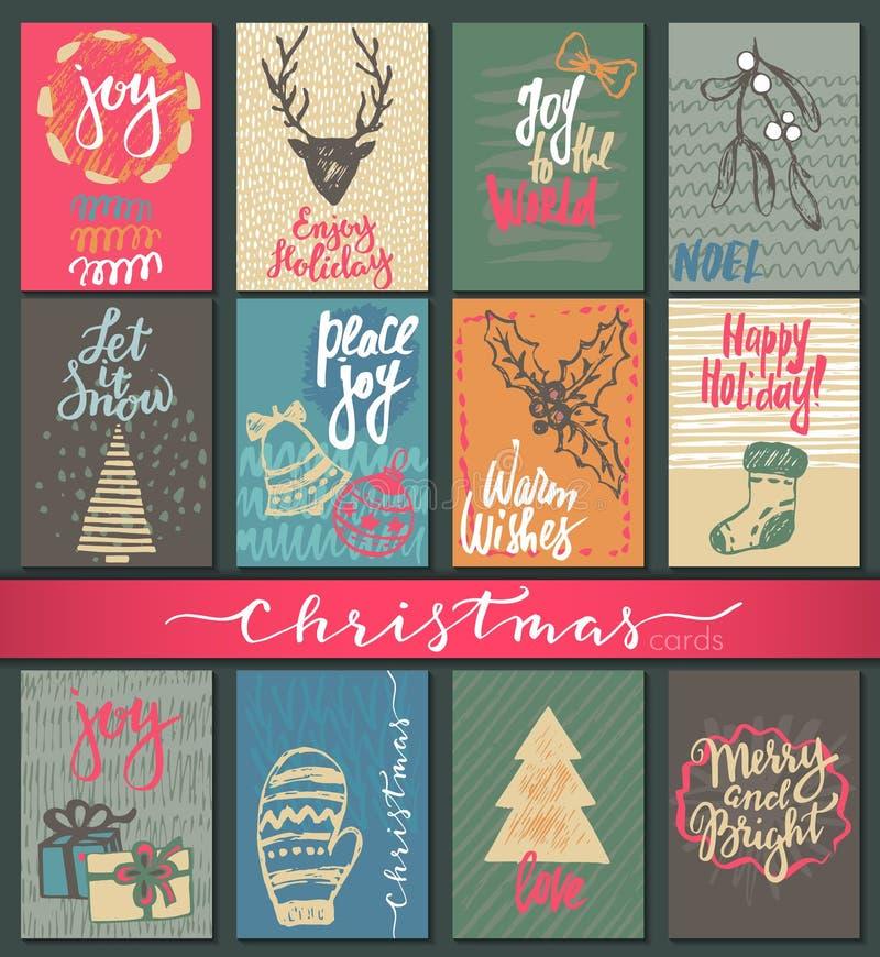 Samling av nio julkort med hand drog beståndsdelar vektor illustrationer