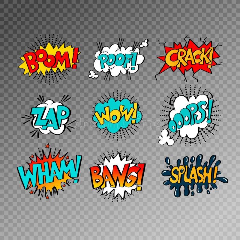 Samling av nio mångfärgade komiska solida effekter i popkonst s royaltyfri illustrationer