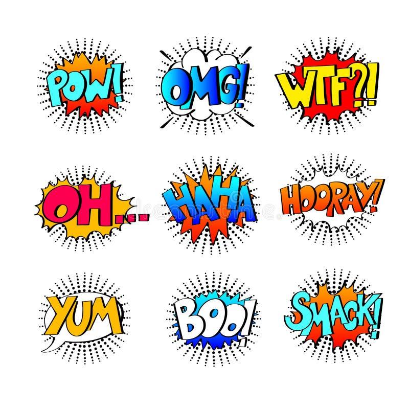 Samling av nio mångfärgade komiska solida effekter i popkonst s stock illustrationer