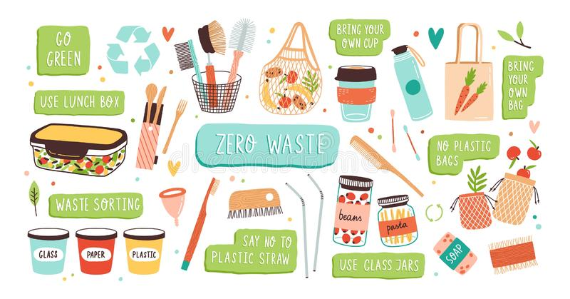 Samling av nollhållbara och återvinningsbara objekt för avfalls eller produkter - exponeringsglaskrus, ecolivsmedelsbutikpåsar, t vektor illustrationer