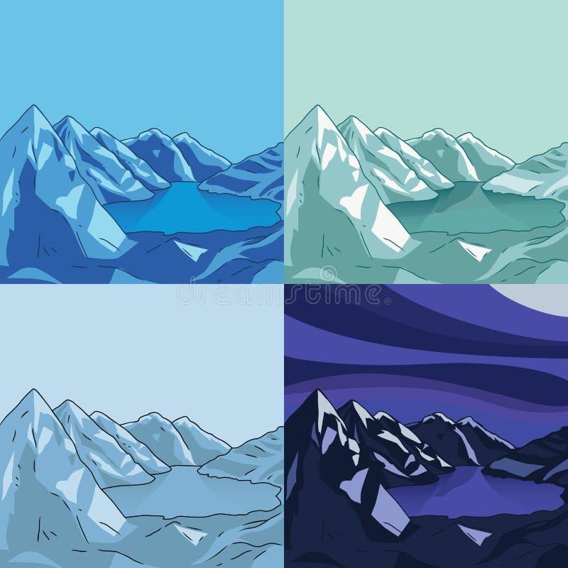 Samling av norr landskap is- lake royaltyfri illustrationer