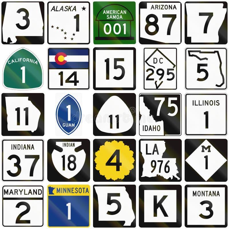 Samling av numrerade vägmärken som används i USA vektor illustrationer