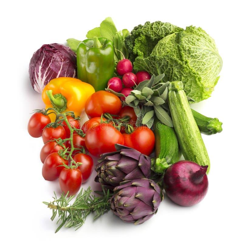 Samling av nya grönsaker royaltyfri foto