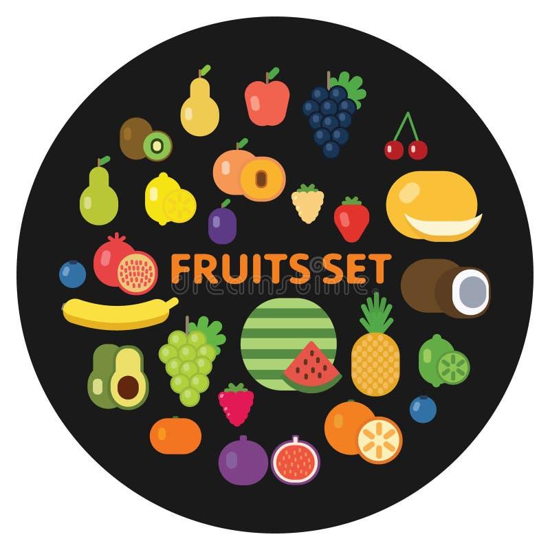 Samling av nya grönsaker och frukter sund livsstil för begrepp För symbolsvektor för organisk mat illustration Plan stil vektor illustrationer