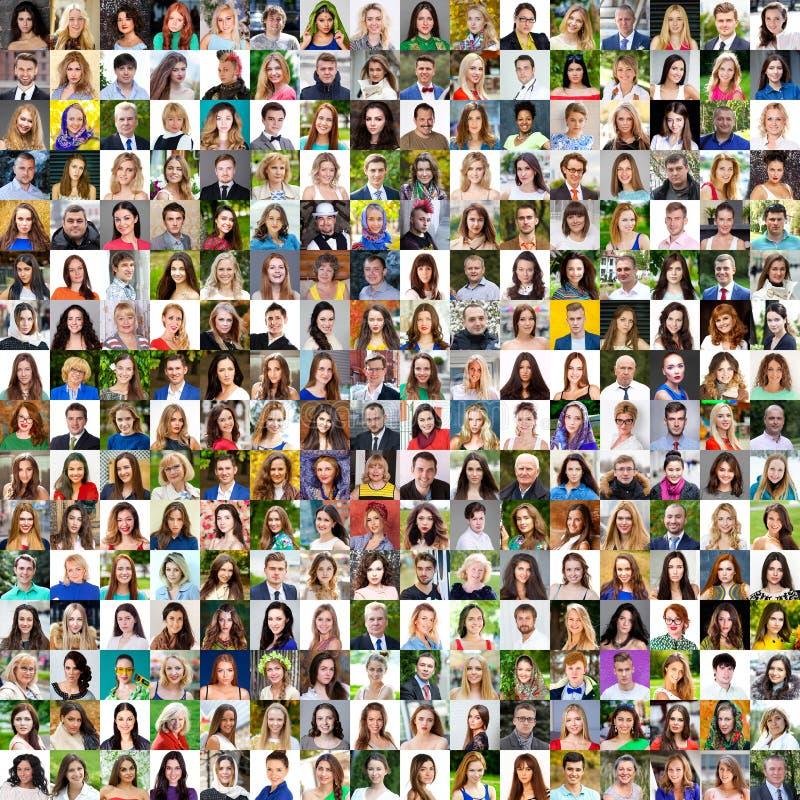 Samling av olika caucasian kvinnor och män som spänner från 18 arkivfoto