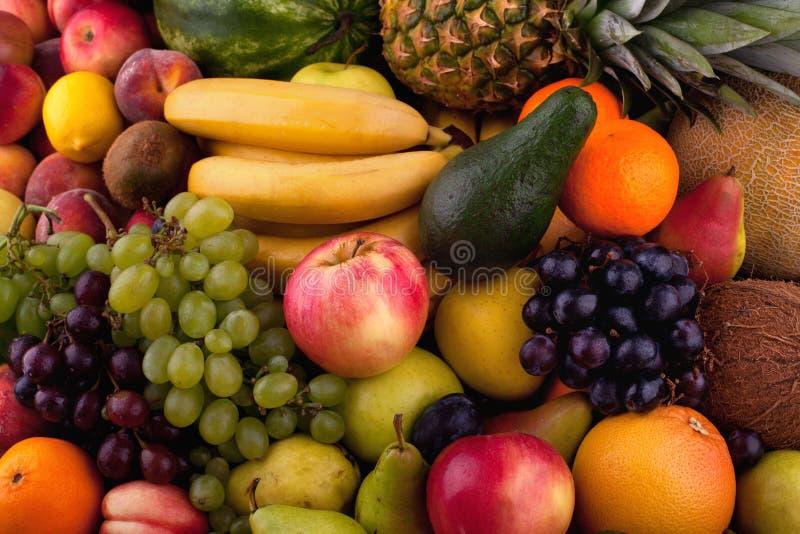 Samling av olika frukter arkivbilder
